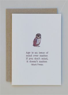 Wise Birthday Owl with Mark Twain quote