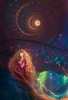 Jie He, illustration, Raiponce, Rapunzel, Disney princesse Disney Kunst, Arte Disney, Disney Fan Art, Frozen Disney, Disney Magic, Rapunzel Flynn, Disney Rapunzel, Disney Princesses, Disney And More