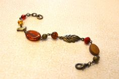 Brass Nature Bracelet w/ Amber Beads by skyeshouse on Etsy, $8.00