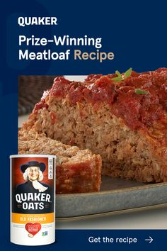 Prize Winning Meatloaf Recipe, Good Meatloaf Recipe, Best Meatloaf, Meatloaf Recipes, Pork Recipes, Cooking Recipes, Quaker Oatmeal Meatloaf Recipe, Meatloaf With Oats, Beef Dishes