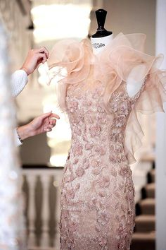 Ralph & Russo Fall 2015/16, Haute Couture. Delicate organza ruffles, feathers and the finest silk thread hand embroidery.