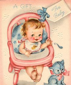 Vintage New Baby Gift Card