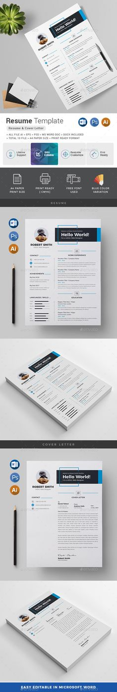 Features of Resume Template Color Versions Paper Size With Bleeds Quick and easy to customize templates Change Customize easily in MS WORD, PSD & Illustrator Professional and clean structured files. College Resume Template, Simple Resume Template, Resume Design Template, Creative Resume Templates, Cv Template, Creative Cv, Resume Words Skills, Cv Curriculum Vitae, Stationery Templates