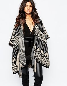 River Island Aztec Knitted Hooded Cape