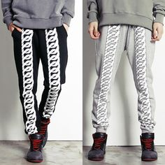 Remember Click Rope Knot Print Jogger Pants BLACK GRAY ONE SIZE Korean Wear #RememberClick #CasualPants