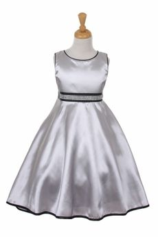 Girls Silver High Low Dress with Beaded Sash