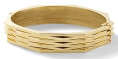 The jewelry designer is bringing back the bangle in this textural gold piece.