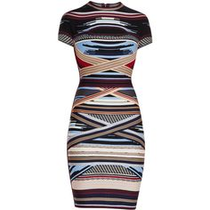 Herve Leger Lisette Engineered Multi-Stripe Dress found on Polyvore featuring dresses, cut out dresses, multi color bandage dress, cutout dresses, colorful striped dress and colorful bandage dress