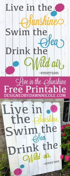 Live in the Sunshine FREE Printable (a printable version of my DIY Fence Board Garden Sign)