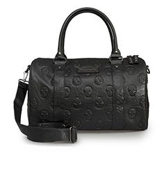 Loungefly Black Skull Embossed Faux Leather Large Duffle