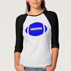 Custom Women's Blue Football 3/4 Sleeve Shirt #footballmom