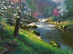 Seasons of Life 2 ~ Spring's Renewal by Mark Keathley ~ black bears stream woods dogwood blossoming