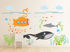 Under the Sea Decal, Large room, Nautical, Fish, Submarine decal, Sea Nursery Wall Vinyl. $160.00, via Etsy.