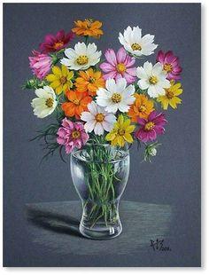 Drawing Flowers & Mandala in Ink - Drawing On Demand Acrylic Flowers, Watercolor Flowers, Art Floral, Beautiful Flower Arrangements, Beautiful Flowers, Flower Vases, Flower Art, Cosmos Flowers, Hydrangea Care