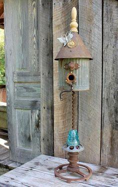 Garden sculpture bird bath garden art made from repurposed glass. Garden Crafts, Garden Projects, Outdoor Projects, Outdoor Decor, Metal Projects, Welding Projects, Deco Floral, House Made, Fairy Houses