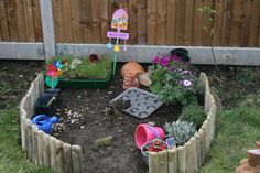 Making a Little Garden Play Space...Love this idea to keep it contained