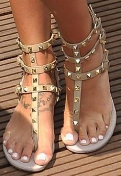 Valentino Rockstud Gladiator Caged Thong Sandal Ivory w Gold Spike