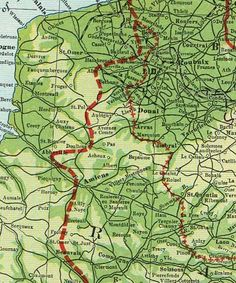 Map of British area of Operations France 1914-18
