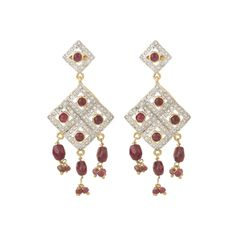 Happiness collection natural ruby studded zirconia party earrings for women dilan jewels