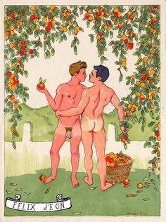 Apple Pickers, A painting of gay love and romance featuring the male nude by Felix dEon