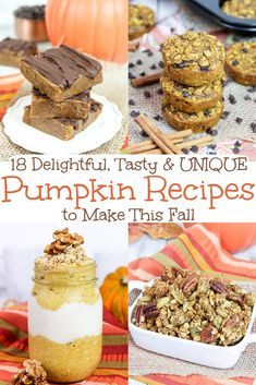 These are the best tasty, healthy and unique healthy pumpkin recipes for fall! Includes breakfast, snacks, dinner ideas and sweets. Thanksgiving Recipes, Fall Recipes, Pumpkin Pie Smoothie, Unique Recipes, Amazing Recipes, Healthy Pumpkin, Pumpkin Recipes, Healthy Snacks, Healthy Bars