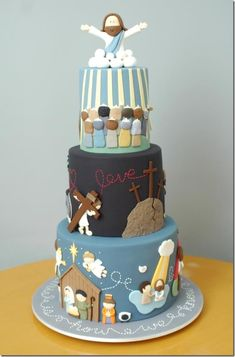 This cake tells the story of Jesus from His birth to His ascension into Heaven. Description from betweenthepagesblog.typepad.com. I searched for this on bing.com/images