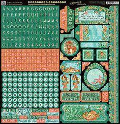 Graphic45 VOYAGE BENEATH THE SEA 12x12 Sticker Sheet scrapbooking STEAMPUNK