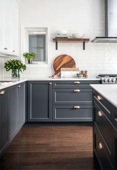 Most Popular Pins this Week + Great Home Decor Sales - jane at home Grey Kitchen Cabinets, Upper Cabinets, Kitchen Cabinet Design, Kitchen Storage, Kitchen Organization, Shaker Cabinets, Kitchen Countertops, White Cabinets, Kitchen Backsplash
