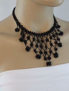 Handmade beaded  necklace ,hand crochet black necklace, beadwork necklace,statement necklace,bib necklace, gift for her,