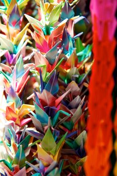 1000 origami cranes, Senbazuru 千羽鶴 - Senbazuru is a string of a thousand paper cranes. It is usually sent to a person who is ill or injured as a prayer for recovery. The crane is symbolic of happiness and long life in Japan.