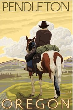 Steamboat Springs, Colorado - Cowboy on Horseback - Lantern Press Artwork Giclee Art Print, Gallery Framed, Silver Wood), Multi Party Vintage, Pub Vintage, Vintage Signs, Vintage Art, Retro Poster, Vintage Travel Posters, Pendleton Oregon, Steamboat Springs Colorado, Silverton Colorado