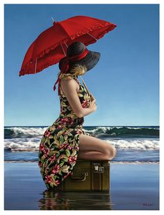Red Brolly, Paul Kelly, Umbrella Photography, Fashion Artwork, Realistic Paintings, Under My Umbrella, Pretty Photos, Canadian Artists, Illustrations
