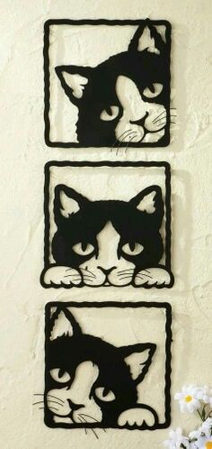 Set of 3 Peeping Black Cats Square Metal Wall Art Hanging Plaques Home Decor What's Decoration? Decoration could be the … Metal Walls, Metal Wall Art, 3d Metal, Metal Tree, Black Metal, Crazy Cat Lady, Crazy Cats, The Animals, Collections Etc