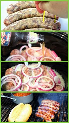 Beer Braised Grilled Brats - an ultimate grilling meal that puts two of our favorites together: tasty Brats & beer!