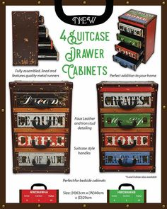 4 Drawer #Cabinets an exciting new line for #GreenJem #ChestOfDrawers #Homeware #Retro #Vintage #Suitcase #BedsideTable #G