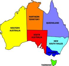 Australia  map, showing the states and Territories  ~  missing is the ACT.. not shown but is a dot inside New South Wales .....