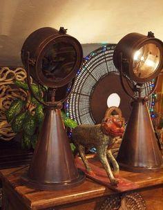 Лампа настольная «Прожектор», ручная работа, металл