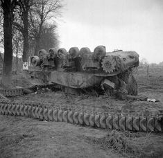 """Sherman Ic Hybrid """"Firefly"""" conversion armed with a 17 pounder with C Squadron, County of London Yeomanry pushed off the road after being knocked out by a Jagdpanther in Udem - February 1945 Sherman Tank, Ww2 Tanks, A 17, World War Ii, Old Photos, Military Vehicles, Diorama, Wwii, Germany"""