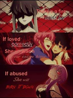 There's a fire inside her, if loved correctly she will warm your entire home, if abused she will burn it down, text, Yuno, Yuki, blood, yandere, blushing; Future Diary
