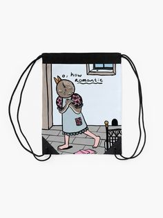 """""""gothic whimsical ink bird"""" Drawstring Bag by grumblebeeart 