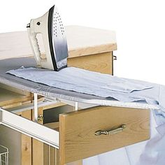 Our unique pull-out ironing board can easily be retrofitted and folds away neatly into the space of a drawer.Rev-A-Shelf has ironed out the . Pull Out Ironing Board, Ironing Boards, Kitchen Set Up, Kitchen Cost, Kitchen Layout, Woodworking Books, Rockler Woodworking, Fine Woodworking, Youtube Woodworking