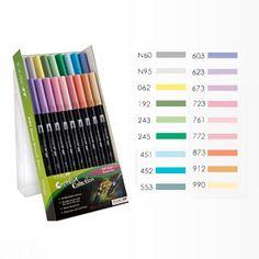 Tombow Brush Pen Set of 18 Pastel Colours - London Graphic Centre - Tombow Dual End Brush Pen Sets