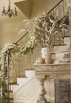 White dendrobium orchids and silver fir cascade down the stair rail in the entry hall - white Christmas Noel Christmas, All Things Christmas, White Christmas, Xmas, Burlap Christmas, Christmas Mantels, Christmas Ideas, Christmas Staircase, Vibeke Design