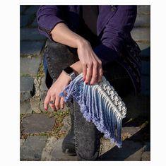 Elegant macrame fringe dip dyed ombre clutch   #macrame #fringe #ombre #clutch #purse #bag #blue #dipdye