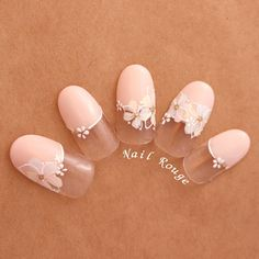 ネイル ネイル in 2020 White Nail Art, New Nail Art, Classy Nails, Simple Nails, Simple Bridal Nails, Japan Nail Art, Nail Techniques, Soft Nails, Valentine's Day Nail Designs