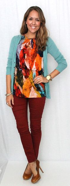 This is perfect for fall (in both the colors and the warmth)!  I love this outfit! It's casual enough that you won't feel like you're going to work, but nice enough that you don't look out of place on a date or something :) I love the way that the colors in the shirt allow for 2 very different colors to go together (aqua and burgundy/rust)
