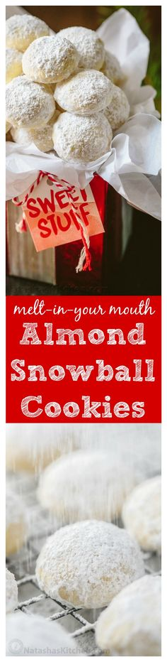 These almond snowball cookies just melt in your mouth. Perfect Christmas cookies since they look like darling little snowballs. aka Mexican wedding cookies or almond melts.