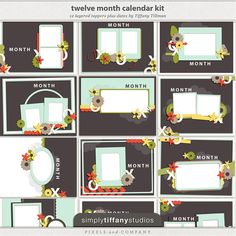 Calendar gifts are easy to create using the 2013 Calendar Kit. The 11 x 8.5 project includes 12-monthly, inspired layered templates. Bonus 2013 PNG dates included. from Simply Tiffany Studios available at Pixels & Company
