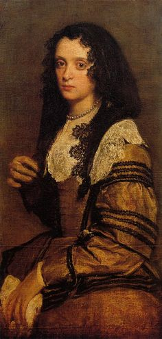 Diego Velazquez painted two portraits of this unknown sitter. The other has no lace and is more revealing. That is because a 'modesty' law had been introduced, forcing to paint a less 'revealing' pose. It has always struck me that V. seems to have had strong feelings towards her. Her gaze in both portraits has an erotic quality.