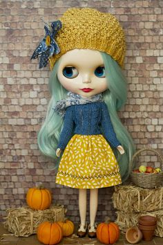 3 piece Blythe set knitted hat sweater and skirt mustard